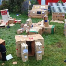 Participants made temporary homes out of cardboard boxes and spent the night sleeping out to bring awareness about youth homelessness.